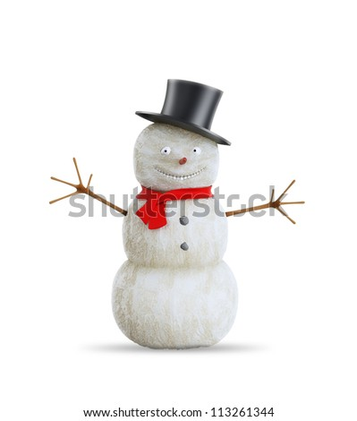 Waving and smiling snowman  with a red scarf - stock photo