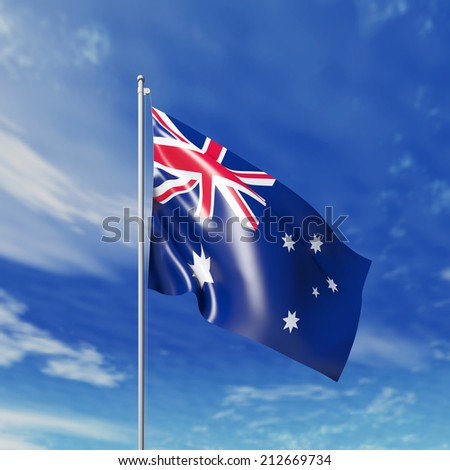 Waving australian flag against cloudy sky. High resolution  render. - stock photo