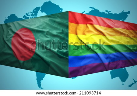 Waving Bangladesh and Gay flags of the political map of the world