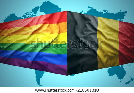 Waving Belgian and Gay flags of the political map of the world