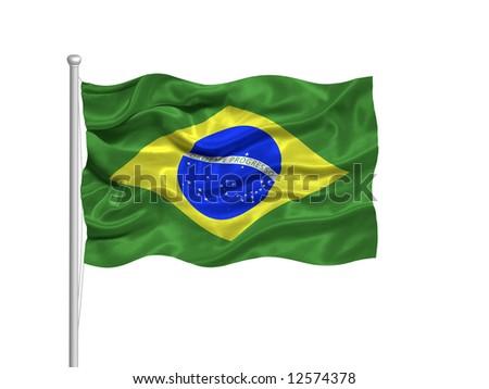 waving Brazilian Flag on white - stock photo