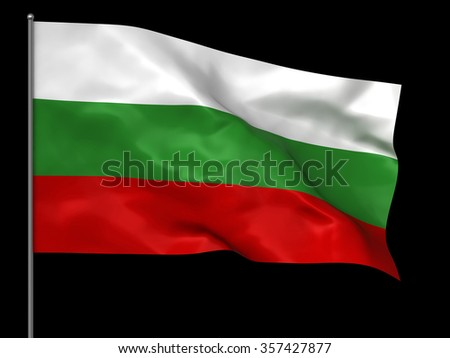 Waving Bulgarian flag isolated over black background