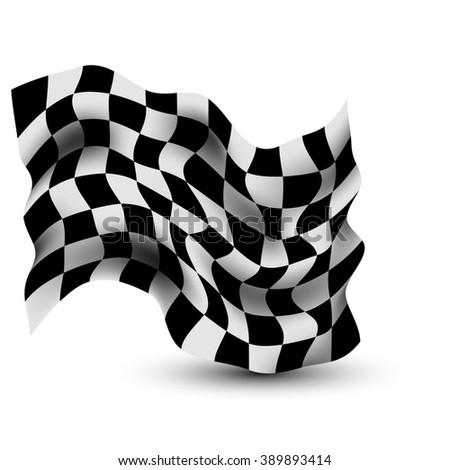 Waving Checkered Flag - stock photo