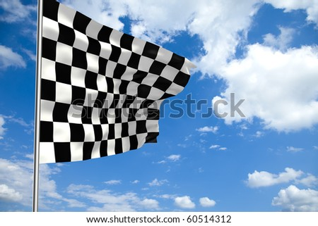 Waving checkered flag in front of a cloudy sky - stock photo