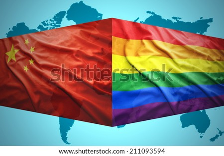 Waving Chinese and Gay flags of the political map of the world