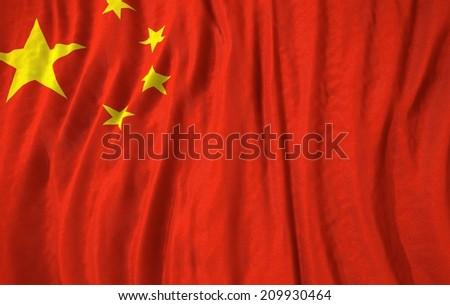 Waving close up china Flag - stock photo