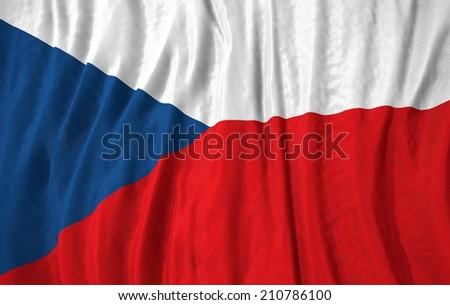 Waving close up czech republic Flag - stock photo
