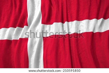 Waving close up denmark Flag - stock photo