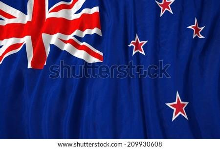 Waving close up new zealand Flag - stock photo