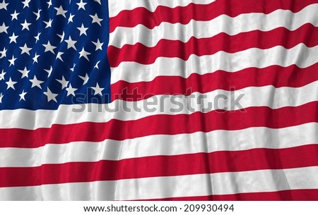 Waving close up united states of america Flag - stock photo