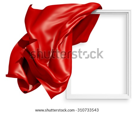 Waving cloth. red drapery 3D on the frame for a picture, fluttering in the wind