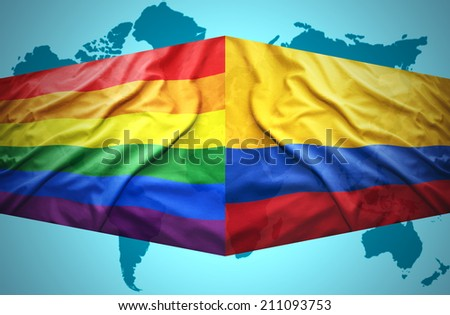Waving Colombian and Gay flags of the political map of the world
