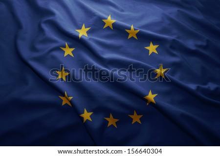 Waving colorful European Union flag - stock photo