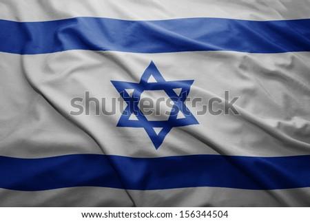 Waving colorful Israeli flag - stock photo