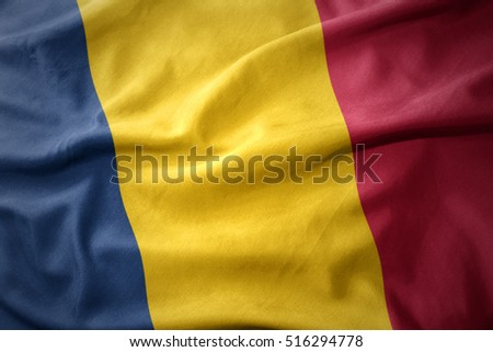 waving colorful national flag of chad.