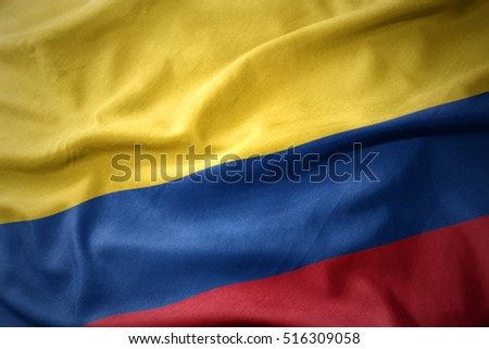 waving colorful national flag of colombia.