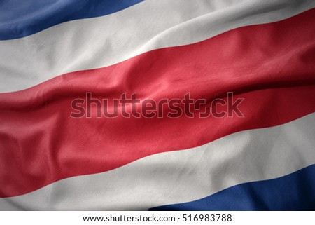 waving colorful national flag of costa rica.