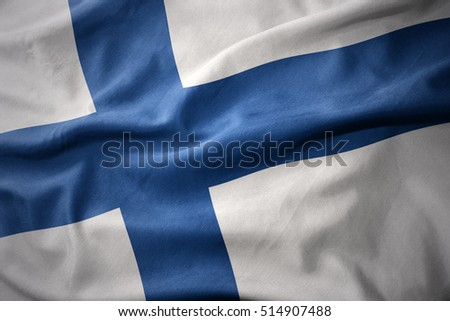 waving colorful national flag of finland.