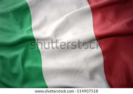 waving colorful national flag of italy.
