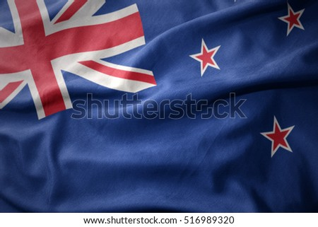 waving colorful national flag of new zealand.