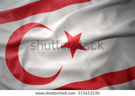 waving colorful national flag of northern cyprus.