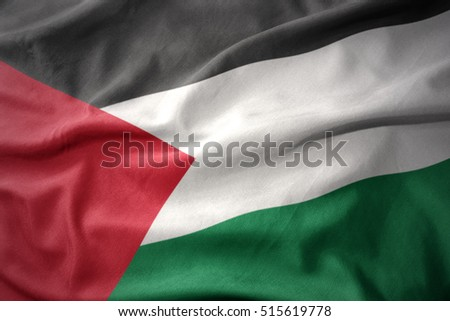 waving colorful national flag of palestine.