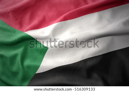 waving colorful national flag of sudan.
