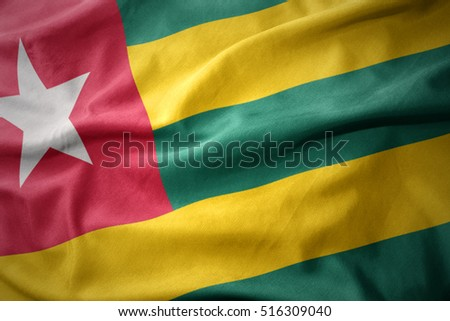waving colorful national flag of togo.
