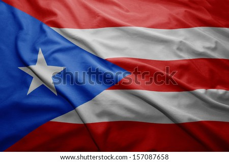 Waving colorful Puerto Rico flag - stock photo