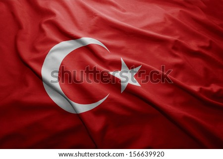 Waving colorful Turkish flag - stock photo