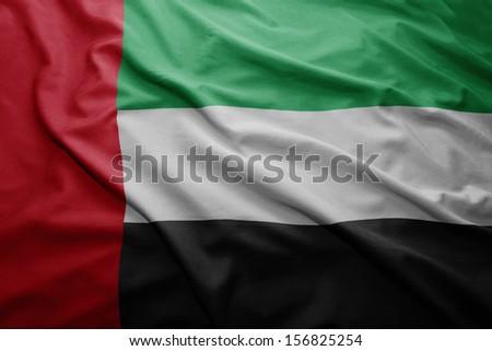 Waving colorful United Arab Emirates flag - stock photo