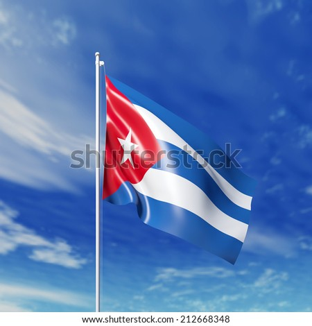 Waving  Cuban flag against cloudy sky. High resolution  render.