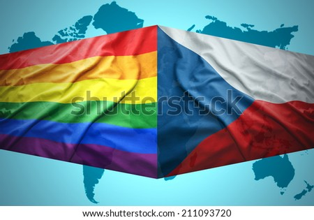 Waving Czech and Gay flags of the political map of the world