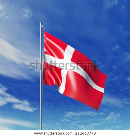 Waving Danish Flag Against Cloudy Sky High Resolution Render