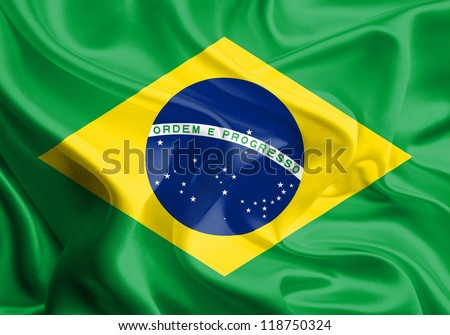 Waving Fabric Flag of Brazil - stock photo