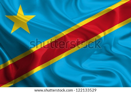 Waving Fabric Flag of Democratic Republic of the Congo