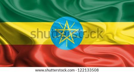 Waving Fabric Flag of Ethiopia - stock photo