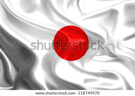 Waving Fabric Flag of Japan - stock photo