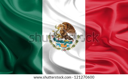 Waving Fabric Flag of Mexico - stock photo