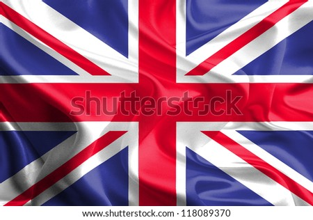 Waving Fabric Flag of United Kingdom of Great Britain, UK