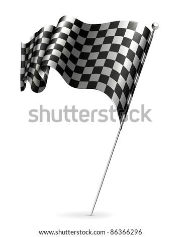 Waving flag checkered, bitmap copy - stock photo