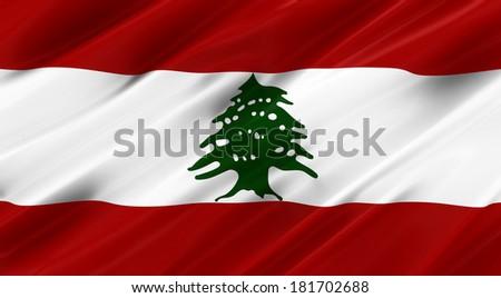 Waving Flag   Lebanon - stock photo