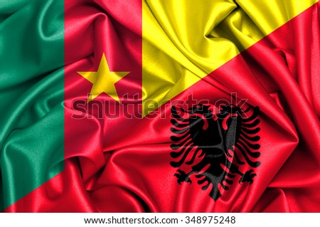 Waving flag of Albania and Cameroon