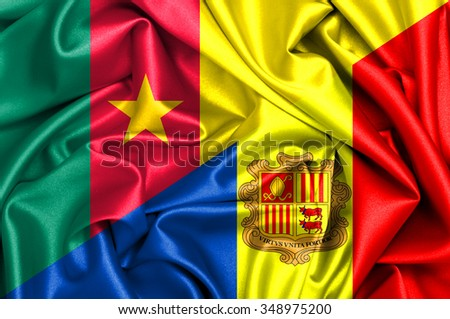 Waving flag of Andora and Cameroon