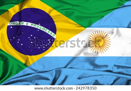 Waving flag of Argentina and Brazil - stock photo