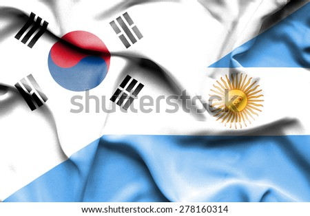 Waving flag of Argentina and South Korea - stock photo