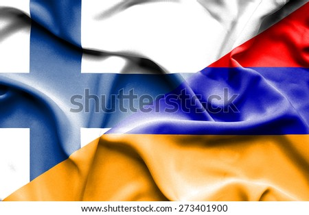 Waving flag of Armenia and Finland