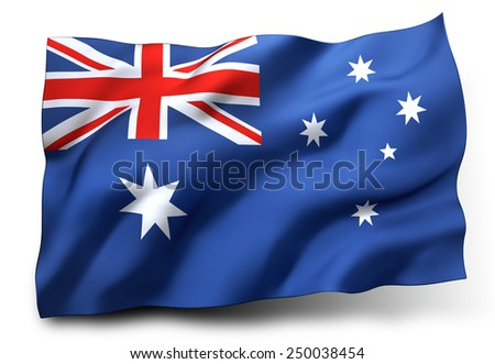 Waving flag of Australia isolated on white background - stock photo
