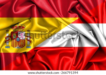 Waving flag of Austria  and Spain - stock photo