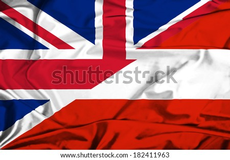 Waving flag of Austria and UK